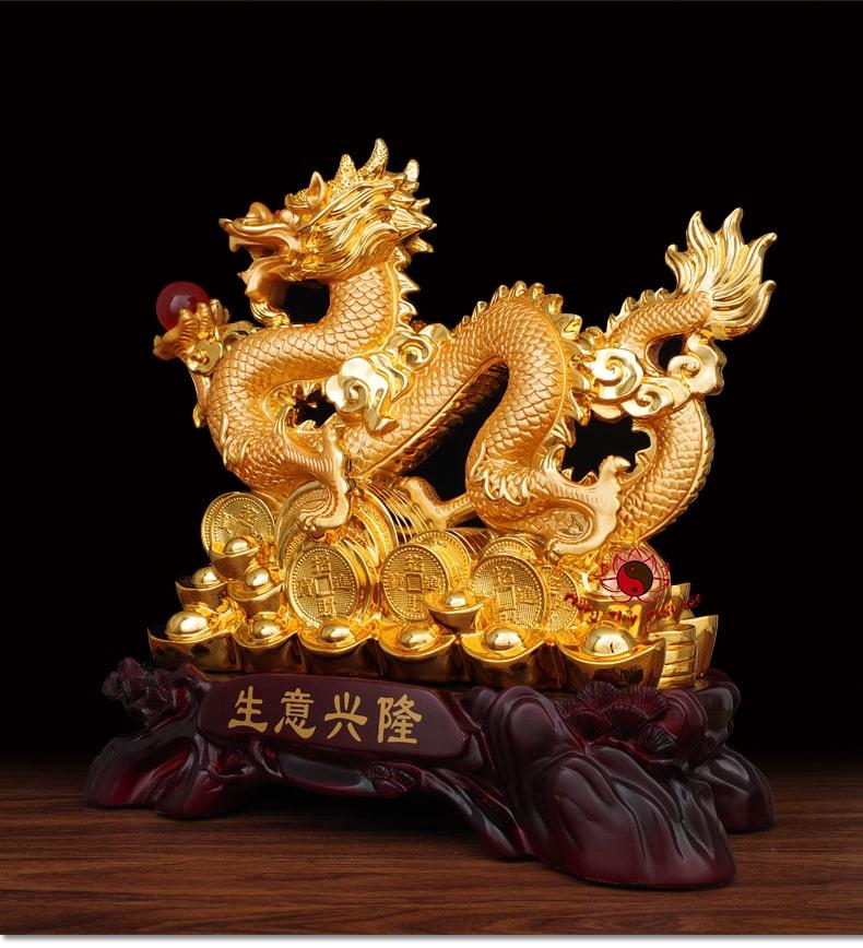 Tượng Rồng Cầm Ngọc Rồng Phong Thủy | Rồng Mạ Vàng | Phú Quý