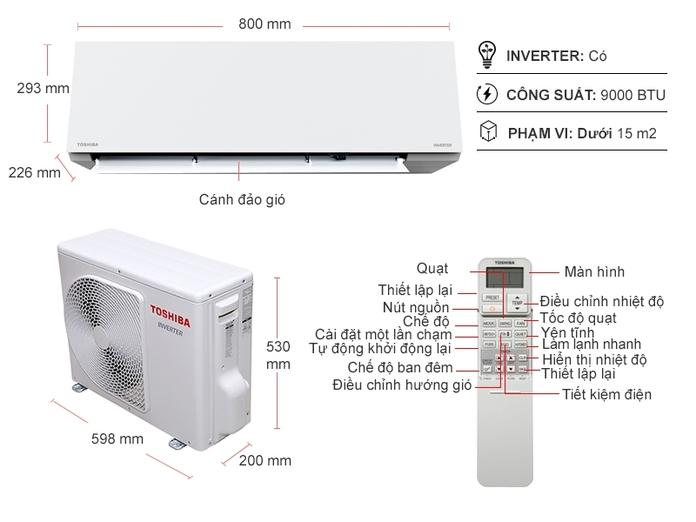 Đánh giá] Tính năng nổi bật của Điều hòa Máy Lạnh Toshiba Inverter 1 HP  RAS-H10E2KCVG-V Giá Tốt trên Nguyễn Kim