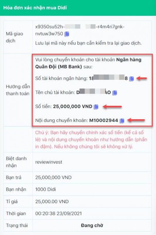 Chi tiết đơn hàng bán Didi trên Muaban247