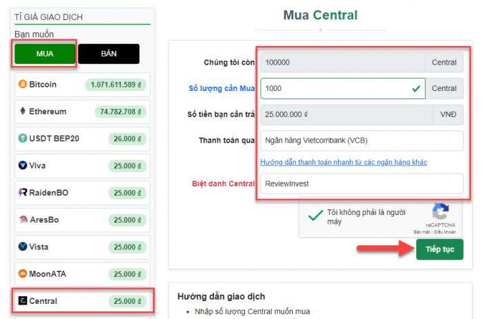Điền thông tin để tạo đơn hàng mua Central trên Muabancoin.io